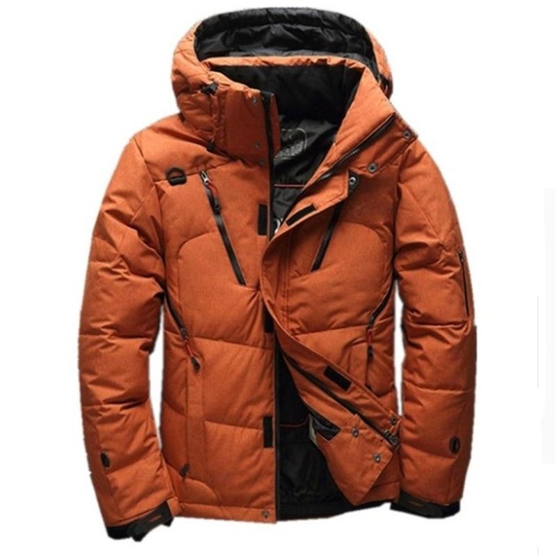Winter White Duck Thick Downs Jacket Men Top Quality Casual Hooded Coat Snow Parka Male Warm Downs Jacket Men Waterproof Outwear