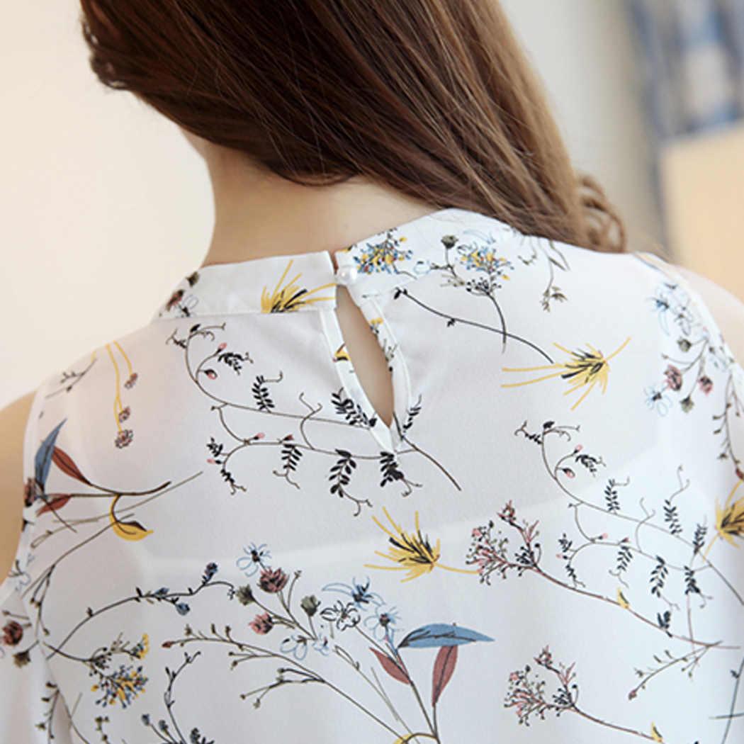 2903670d3b8f Blusa con estampado Floral de chifón y hombros descubiertos para mujer 2018  Tops de verano elegantes de talla grande Blusas de Corea para mujer