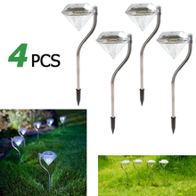 Waterproof 4Pcs LED Solar Panel Spike Spotlight Landscape Outdoor Grounding Sun Light Diamonds Garden Yard Path Lawn Solar Lamps
