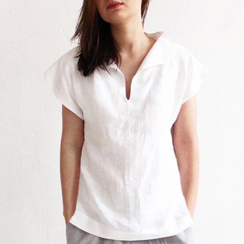 Celmia Women Vintage Linen Tops Plus Size Blouses 19 Summer V Neck Short Sleeve Shirts Casual Tunic Female Blusas Femininas 17