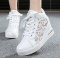 6 см Высокой Моды вырезы кружева белый холст обувь полые цветочный печати дышащий платформы женщин случайные сетки обувь zapatos mujer