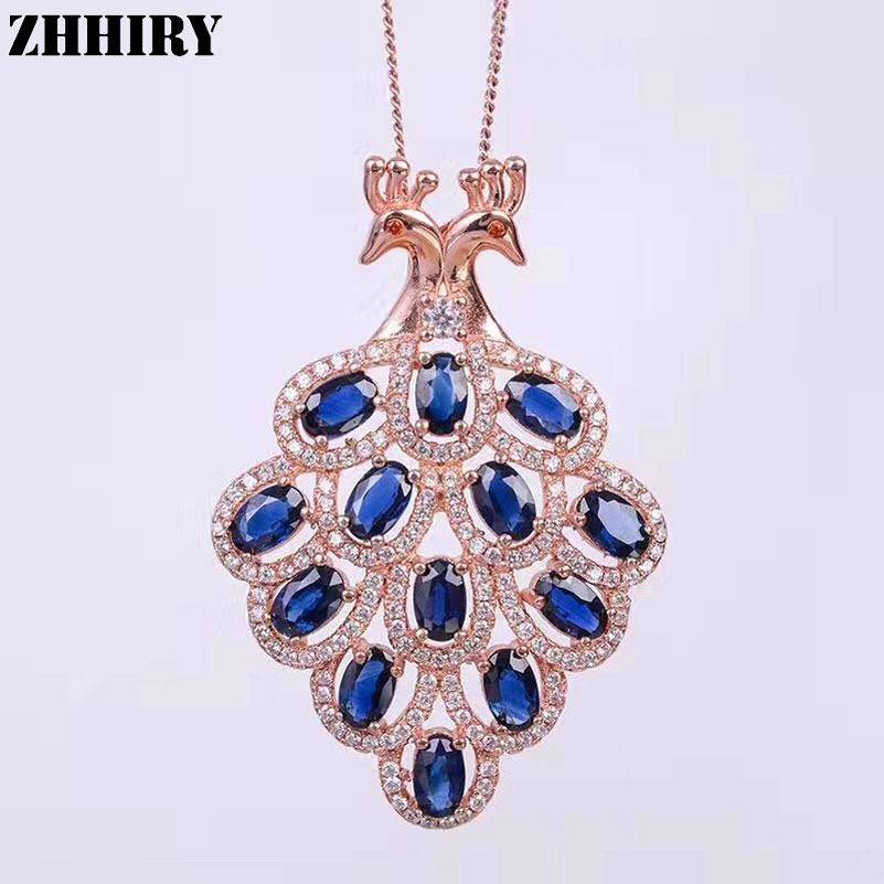 Women Solid 925 sterling silver Natural Sapphire Necklace Pendant Peacock Genuine Fine Jewelry With Chain ZHHIRY 925 sterling silver women lapis beads yellow chalcedony peacock pendant necklace rope chain thai silver choker jewelry ch057272