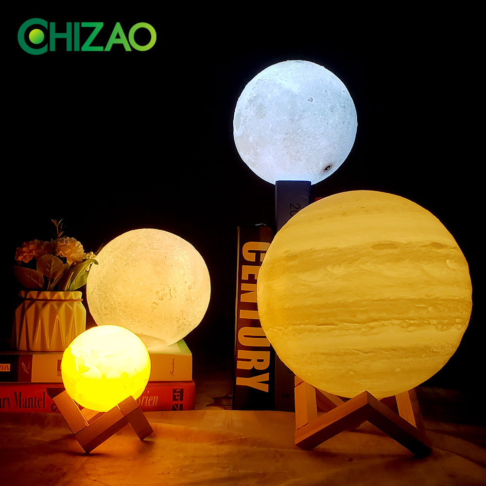 Image 2 - CHIZAO 3D Print LED Lamp Moon Earth Jupiter Home Bedroom Decor Creative Mood Night Light USB Recharge Touch Pat Control Colorful-in LED Night Lights from Lights & Lighting