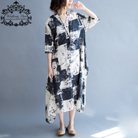 2016 Plus Size Women Dress Linen Long Cardigan Blouse Summer Vintage O Neck Pattern Print Female