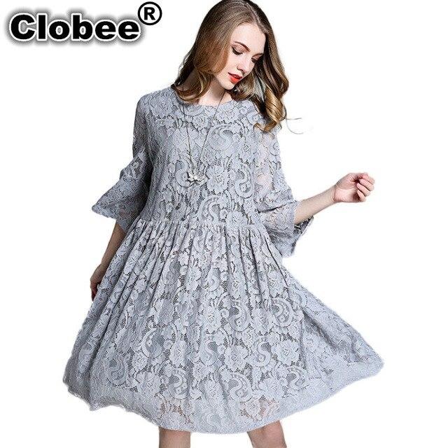 Clobee Swing Flared Oversize Babydoll Lace Dress Plus Size Women