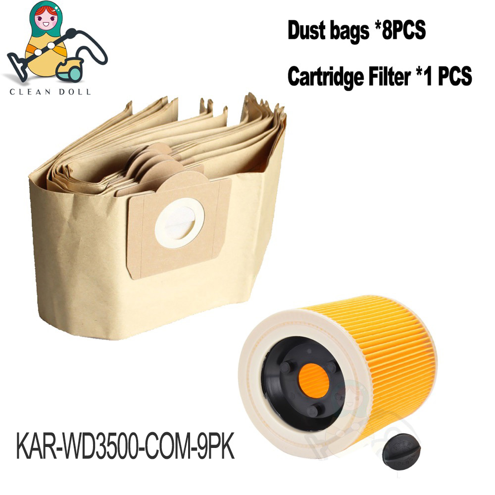 Clean Doll 8X dust bag &1X Filter for KARCHER WD3 /P /Car /Premuim/Home/Workshop WD3.500P Premium  6.959-130 vacuum cleaner Clean Doll 8X dust bag &1X Filter for KARCHER WD3 /P /Car /Premuim/Home/Workshop WD3.500P Premium  6.959-130 vacuum cleaner