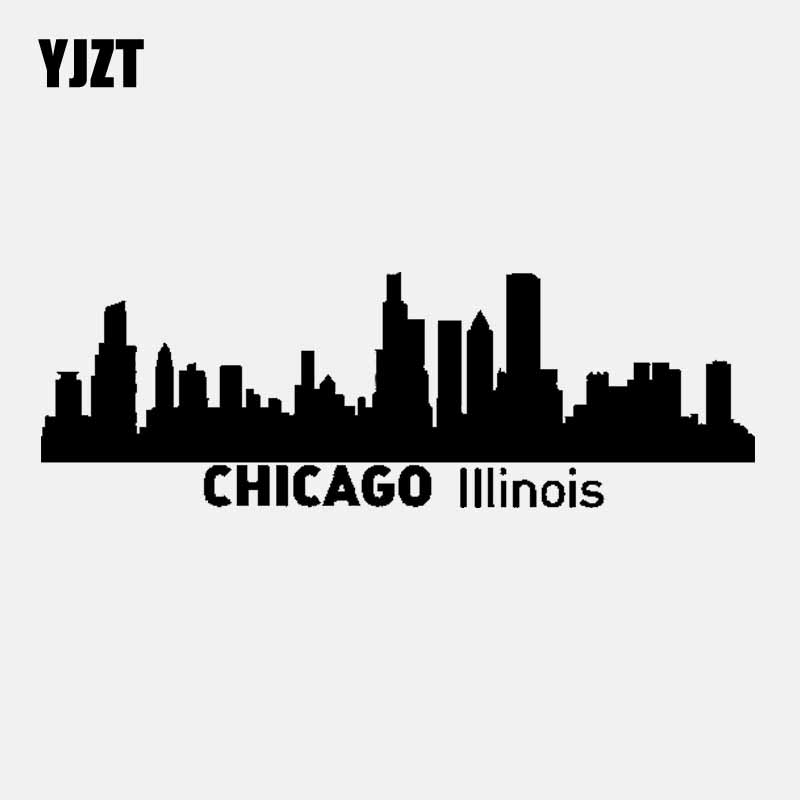 YJZT 15.8CM*5.3CM CHICAGO IIIinois Vinyl Car Sticker Decal City Silhouette Skyline Black/Silver C3-1831