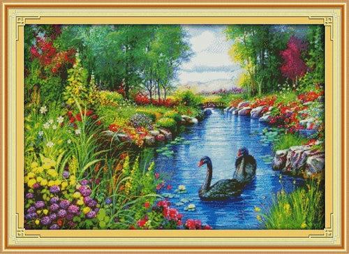 Мирной пейзаж Swan цветы картина вышивки крестом 11CT 14CT DMC вышивки крестом комплект Вышивка Дизайн и декор рукоделия Sale