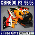 ABS Custom motorcycle fairings kits for Honda orange repsol CBR600 F3 1995 1996 CBR600F CBR 600 F3 95 96 bodywork fairing kit