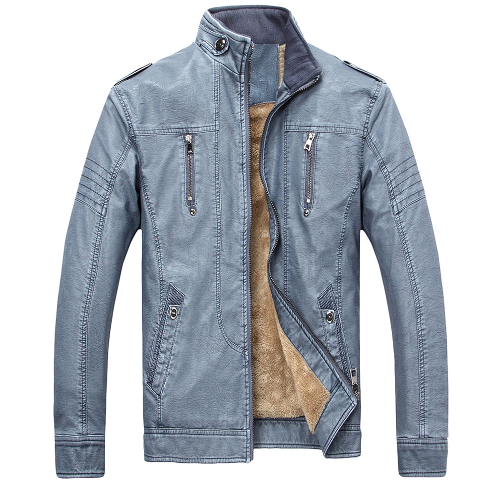 2020  Men's Retro Washed Four Generations Of PU And Leather Jacket Fashion Collar High Quality Leather With Many Pockets