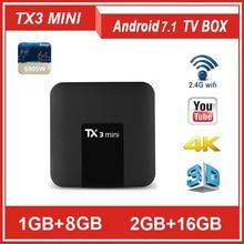 TANIX TX3 Мини Android 7,1 Смарт ТВ BOX Amlogic S905W 1G/2 граммовое 8/16g Встроенная память 4 ядра DDR3 2,4G/5G WI-FI H.265 1080 P декодер каналов кабельного телевидения TX6