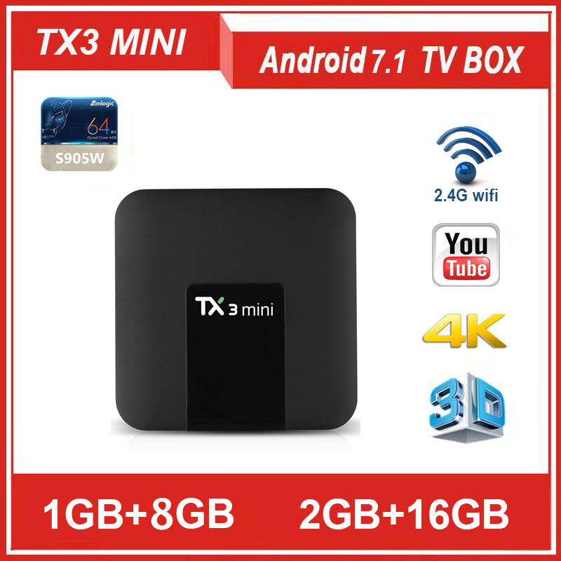 TANIX TX3 MINI Android 7.1 Smart TV BOX Amlogic S905W 1G/2 gramme 8/16g ROM Quad Core DDR3 2.4G/5G WIFI H.265 1080 P décodeur TX6