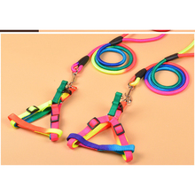 Colorful Dog Harness And Leash Set Soft Walking Pet Vest Traction Durable Round Nylon Chest Strap