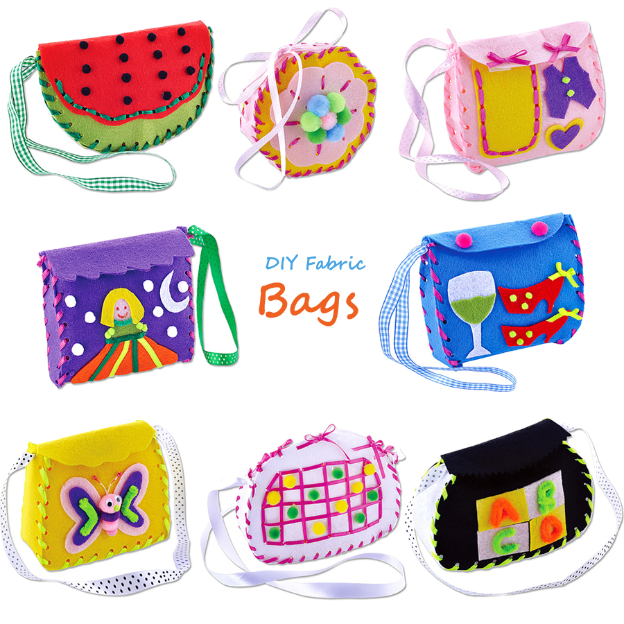 DIY Handmade Sewing Project DIY Art Kit,Non-woven Fabric Bags Candy Trick kids Art & Crafts Kindergarden Educational Kid Toys