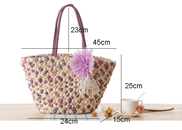 Woven Beach Bags Women Large Straw Handbags Summer Fashion Zipper 17 Bolsa Feminina Flower Ladies Hand Bags Female New Arrival 1