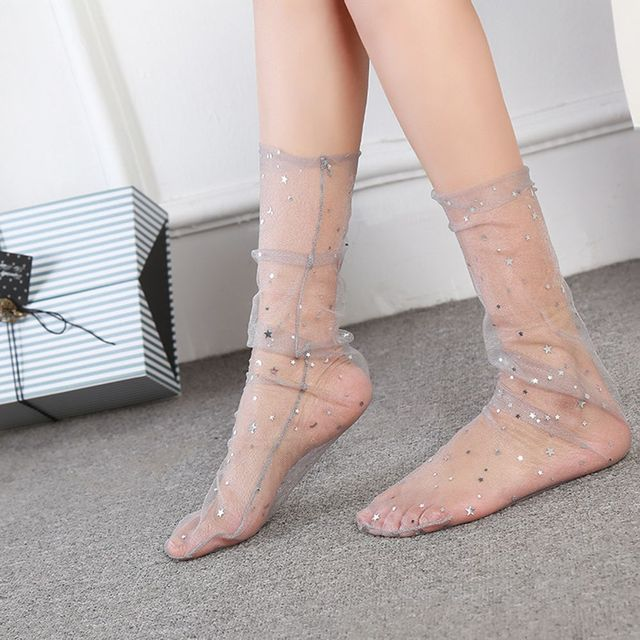 38b9c210833 2018 New Women Crystal Silk Soft Transparent Ultrathin Ankle Hosiery Glitter  Star Fishnet Socks Hot Sale