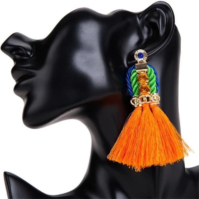 Handmade Bohemian Long Tassel Earrings Vintage Big Fan Shape Tassel Earrings Dro
