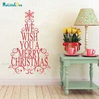 Рождественская елка Наклейка на стену мы желаем вам счастливого Рождества домашний Декор Гостиная спальня съемные теплые фрески с надпись...