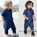 Новый Baby Boy Одежда Новорожденных Детская Одежда Ползунки Denim Молния Комбинезон Наряды