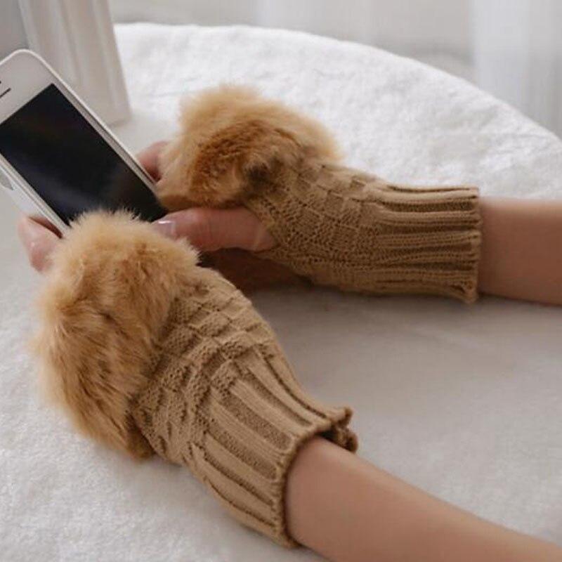 Женские новые модные женские туфли вязаные перчатки без пальцев Зимние перчатки Half-палец Перчатки PI047