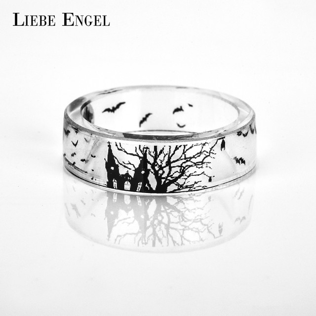 Liebe Engel Vintage Resin Rings For Women And Men Jewelry Bat Castle Ink Painting Scenery