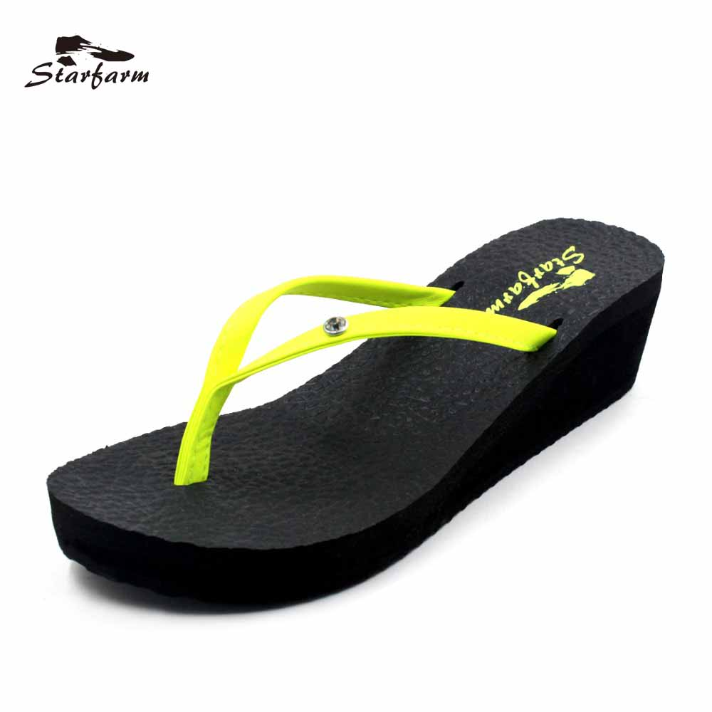 STARFARM Platform Wedge Sandals Lime Green Strap Women Beach Sandal Sandalias Plataforma 2017