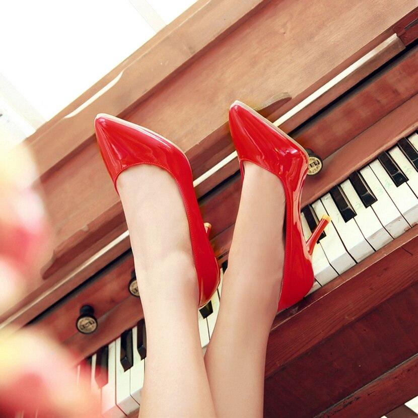 Alto Boda 2018 negro Gran Mujeres Cuero Conciso Apricot Charol De Zk30 Más Tamaño rojo Único Bombas blanco Zapatos Las El Tacón UqzrZUwfA