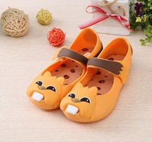 Mini  jelly sandals for girls 2017 summer newest cute cartoon animal decoration girl jelly sandals 14.5-17 cm girl shoes
