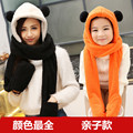 Winter Hatautumn And New Double Ball Scarf Hat Gloves One Lovely Plush Thick Warm Three Sets Of Children