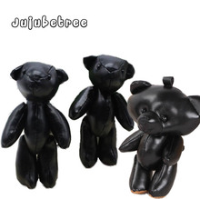 मिनी काले पु चमड़े के जोड़ों भालू भरवां गुड़िया आकर्षण खिलौने DIY निष्कर्ष बच्चों के लिए शादी सजावट उपहार खिलौने भालू