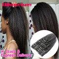 Clipe reta kinky em entensions cabelo grampo de cabelo humano ins remy clipe ins malaio virgem yaki italiana natural para preto mulheres