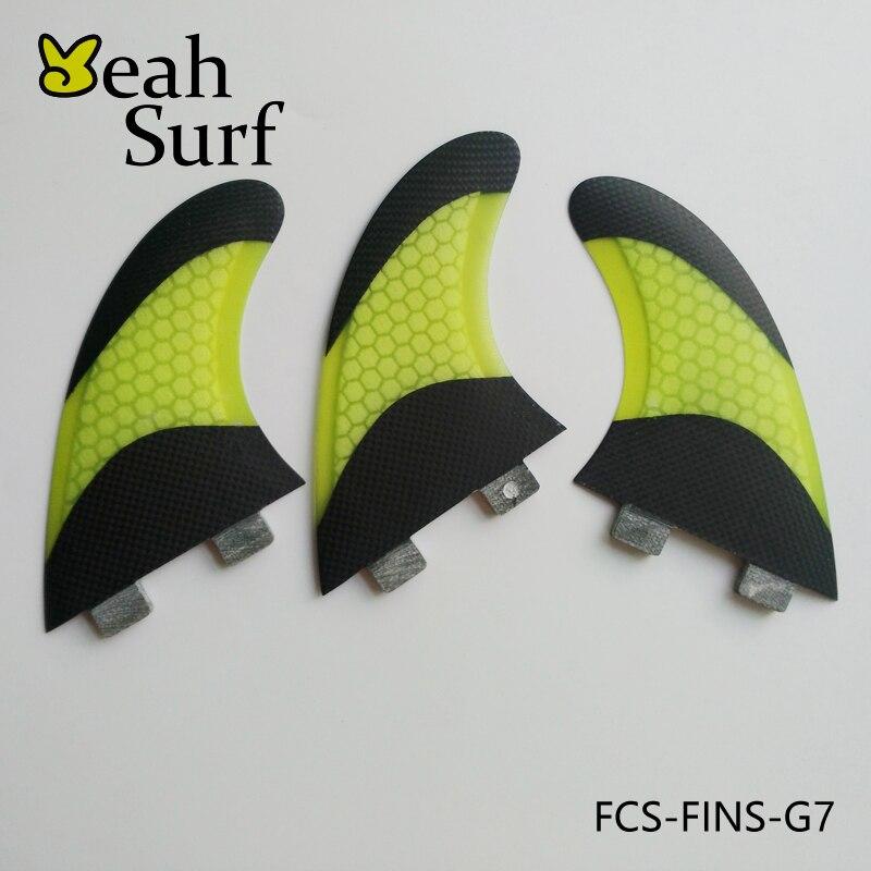 FCS Fin Quilhas G7 Honeycomb Fiberglass Surfboard Fin Carbon Fiber Yellow Blue Green Orange White Fin G7 Surf FCS Fin top quality orange color fcs ii g7 l surfboard fins made by carbon and honeycomb tri set fcs 2 l thruster fin
