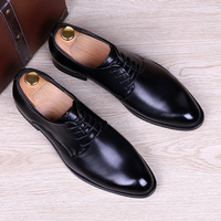 Men Fashion Black Business Wedding Formal Dress Bright Genuine Leather Shoes Breathable Spring Autumn Oxford Shoe
