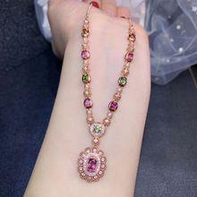 [MeiBaPJ] роскошное натуральное ожерелье с подвеской из турмалина с сертификатом 925 чистого серебра прекрасный брелок ювелирные изделия для женщин