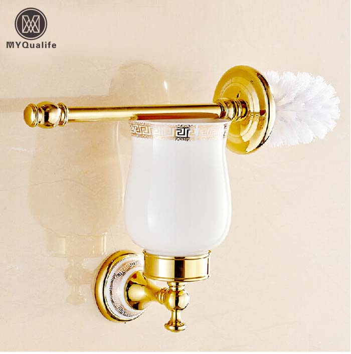 High-end Golden & Ceramic Brass Toilet Brush Holders Wall Mounted high end carving wall mounted toilet cleaning brush antique brass toilet brush holder free shipping wholesale and retail 10709f
