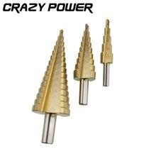 CRAZY POWER 3Pcs Metric Spiral Flute Step HSS Steel Cone Titanium Coated Drill Bits Tool Set