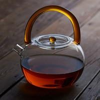 Creative Heat Resistant Apple Shape Glass Tea Pot Flower Tea Set Puer kettle Coffee Teapot 780ml
