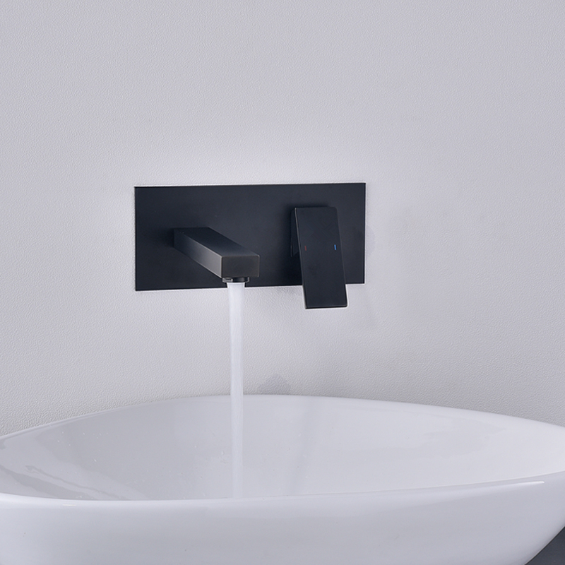Black Invisible Simple Style Brass Wall Mounted Basin Faucet Single Handle Mixer Sink Tap Hot & Cold Water Bathtub Spout Faucet jieni wall mounted brass basin faucet single handle mixer tap hot cold bathroom bathtub water mixer matt black white gold set