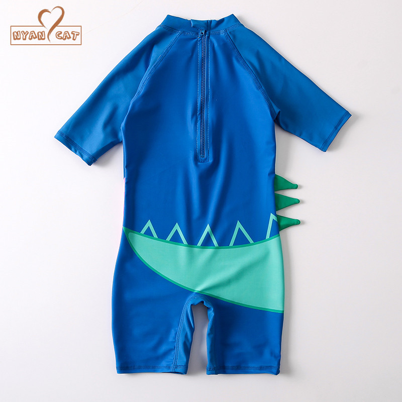 Nyan Cat 2018 Children Swimwear Dinosaur Baby Swimsuit Boys Sun Protected One Piece Bathing Swimming Diving Suit for Baby Boy