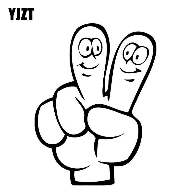 YJZT 11.3*15.1 سنتيمتر السلام مضحك اليد طباعة أصابع مبتسم سيارة ملصق الفينيل الرسم زخرفة عالية الجودة الرسم C12-0151