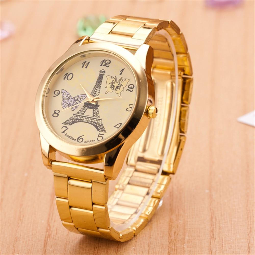 Price drop stainless steel watch men alloy fashion quartz watches tower pattern women goldren wristwatches hot selling 2016 new hot selling stainless steel watch women