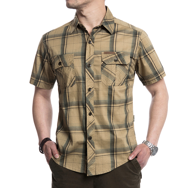 Más el Tamaño M-5XL 2017 Verano ocasionales de los hombres de la marca de Alta Calidad del ejército camisa de tela escocesa corta hombre afs jeep 100% puro algodón rejilla de color caqui camisas