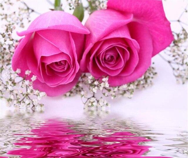 2016 La Venta Caliente Rose Diamante Dibujo Dos Rosas Rojas En Flor