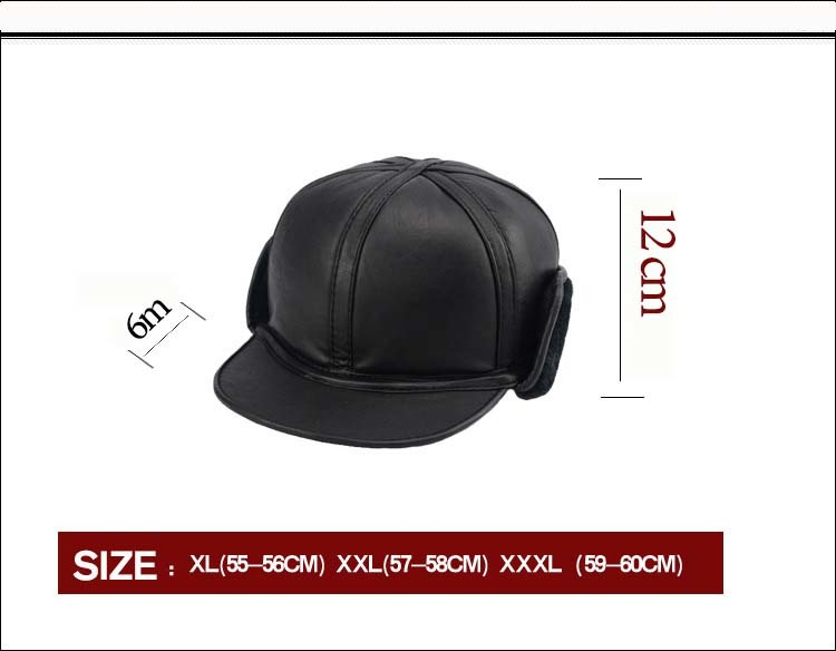 Image 5 - 2018 Winter Autumn Mens Sheepskin Leather Cap Warm Hat Baseball Cap With Ear Flaps Russia Genuine Leather Hats For Men-in Men's Baseball Caps from Apparel Accessories