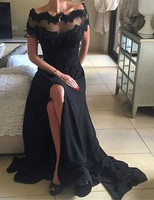 Black Evening Dress Boat Neck Lace A Line Charming Long Prom Dresses With Splits Sexy Open Back Beaded Appliques Evening Gowns