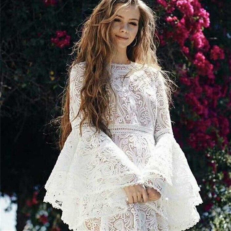 2018 été Vintage femmes blanc dentelle évider vacances robe pleine longue Flare manches volants robe élégante - 4
