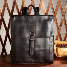 Men's Genuine Leather School Bag Laptop Backpack