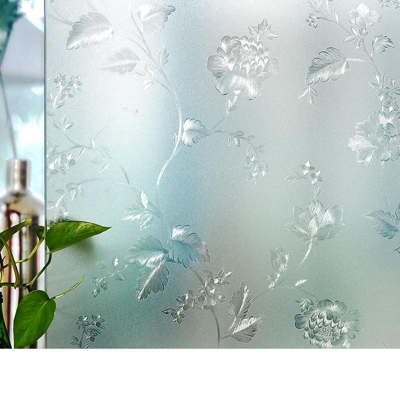 Peony Flower Electrostatic Glass Sticker Window 3D Bathroom Washroom Sliding Door Matte Transparent Opaque Window Paper Foil