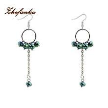 Luxury Bohemian Long Earrings For Women Crystal Beaded Tassel Earrings Handmade Boho Big Circle Drop Earrings Fashion Jewelry