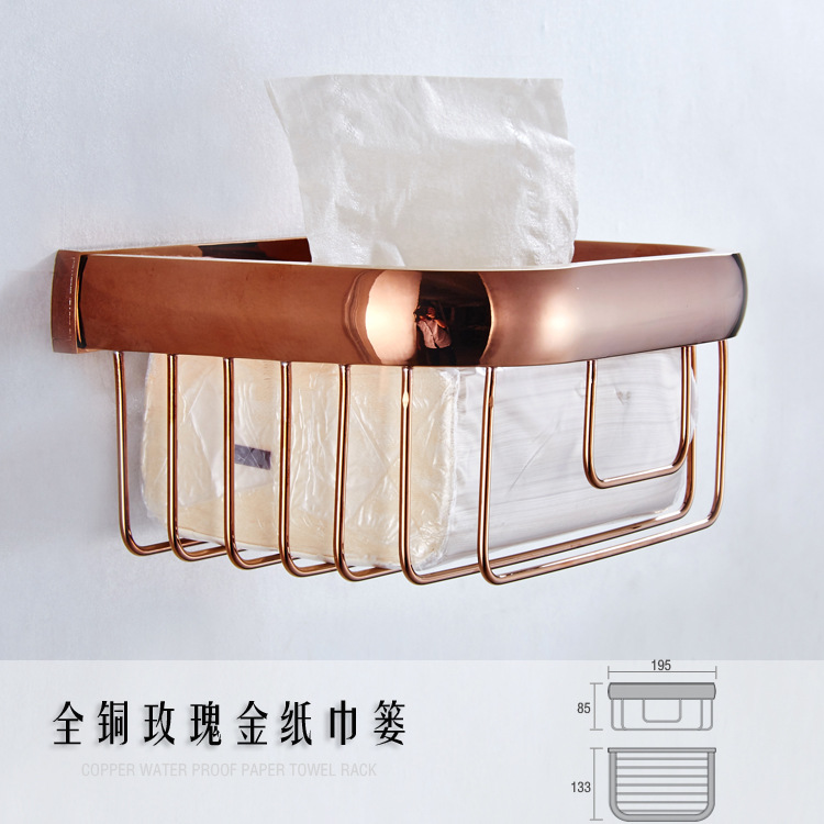 AUSWIND Antique Solid Brass Towel Rack Toilet Tissue Roll Holder Paper Towel Basket Rose Gold Polished M8517 black of toilet paper all copper toilet tissue box antique toilet paper basket american top hand cartons